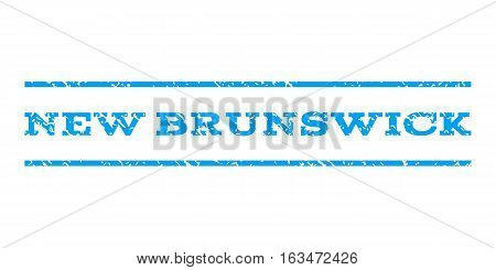 New Brunswick watermark stamp. Text caption between horizontal parallel lines with grunge design style. Rubber seal stamp with dust texture. Vector blue color ink imprint on a white background.