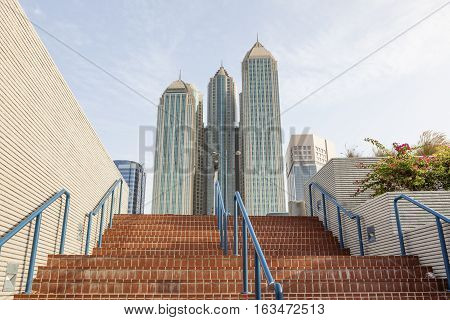Highrise buildings at the corniche in Abu Dhabi United Arab Emirates