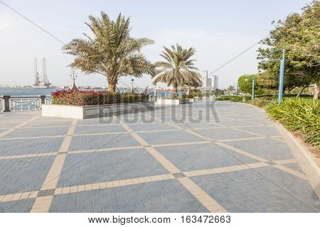 Corniche in the city of Abu Dhabi United Arab Emirates