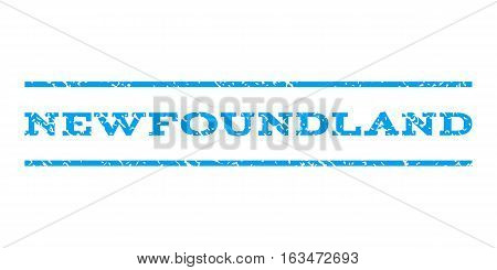 Newfoundland watermark stamp. Text tag between horizontal parallel lines with grunge design style. Rubber seal stamp with unclean texture. Vector blue color ink imprint on a white background.