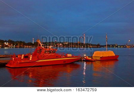Boats pier in the area of Slussen, Stockholm in the evening