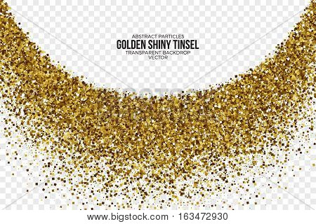 Golden Shiny Tinsel Square Particles Abstract Vector Illustration on Transparent Background. Celebration, holidays and party design element