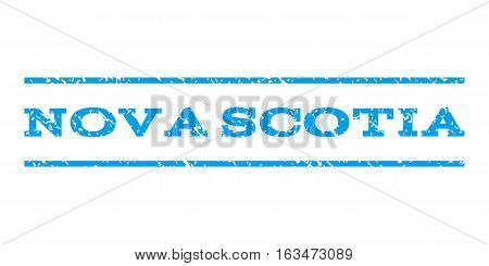 Nova Scotia watermark stamp. Text tag between horizontal parallel lines with grunge design style. Rubber seal stamp with dirty texture. Vector blue color ink imprint on a white background.