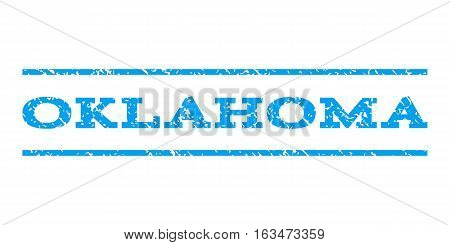Oklahoma watermark stamp. Text tag between horizontal parallel lines with grunge design style. Rubber seal stamp with dust texture. Vector blue color ink imprint on a white background.
