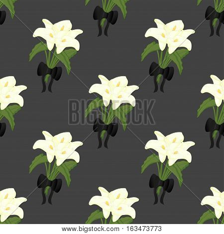 Seamless funeral pattern with calla and black bow.
