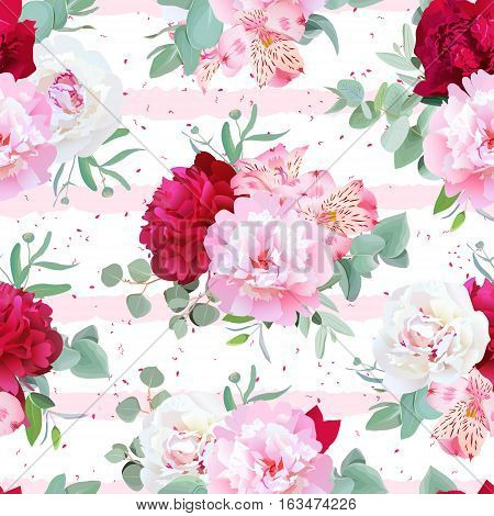 Striped pink floral seamless vector print with peony alstroemeria lily mint eucaliptus. Pink white and burgundy flowers. Speckled backdrop.