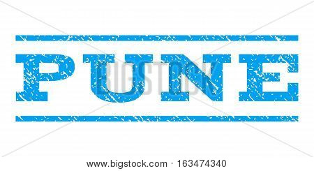 Pune watermark stamp. Text tag between horizontal parallel lines with grunge design style. Rubber seal stamp with dirty texture. Vector blue color ink imprint on a white background.