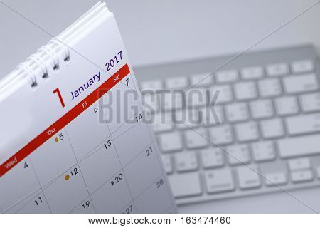 Desktop Calendar Blank Schedule Of 1 January 2017 Put On Table Work Office