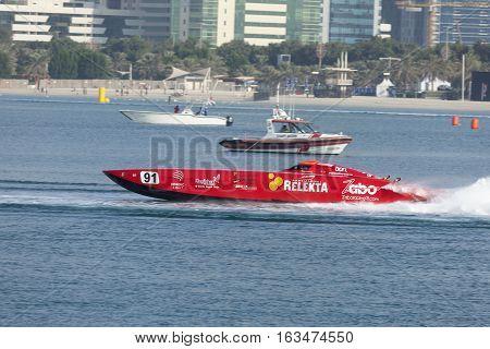 ABU DHABI UAE - NOV 24 2016: Red racing boat at the Powerboat Championship 2016 in Abu Dhabi United Arab Emirates