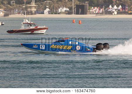 ABU DHABI UAE - NOV 24 2016: Kuwait Racing Team boat at the Powerboat Championship 2016 in Abu Dhabi United Arab Emirates