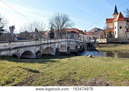 Bridge and city Namest nad Oslavou, Moravia, Czech Republic, Europe