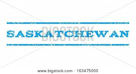 Saskatchewan watermark stamp. Text tag between horizontal parallel lines with grunge design style. Rubber seal stamp with unclean texture. Vector blue color ink imprint on a white background.
