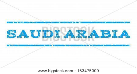 Saudi Arabia watermark stamp. Text tag between horizontal parallel lines with grunge design style. Rubber seal stamp with dust texture. Vector blue color ink imprint on a white background.
