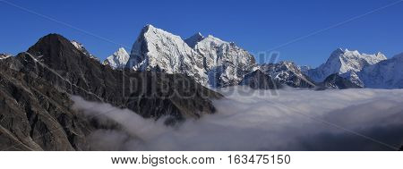 View from a mountain peak in the Gokyo Valley Nepal. Autumn scene.
