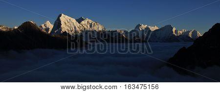 Evening scene in the Gokyo valley. Everest National Park. Mt Cholatse.