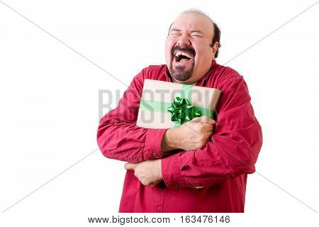 Joyful Balding Man Holding Present To Chest