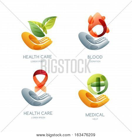 Set Of Charity And Health Vector Logo, Icon, Emblem Design. Human Hand Holding Leaves, Blood Drop.
