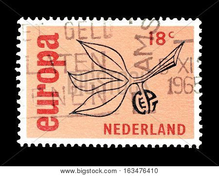 NETHERLANDS- CIRCA 1965 : Cancelled postage stamp printed by Netherlands, that shows Europa CEPT stamp.