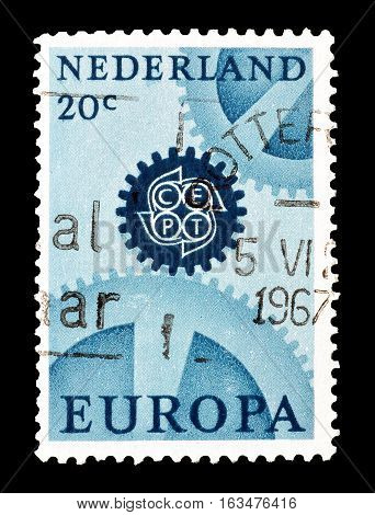 NETHERLANDS- CIRCA 1967 : Cancelled postage stamp printed by Netherlands, that shows Europa CEPT stamp.