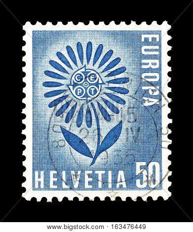 SWITZERLAND- CIRCA 1965 : Cancelled postage stamp printed by Switzerland, that shows Europa CEPT stamp.
