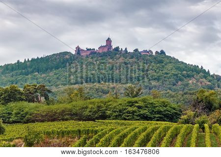 View of hill with Haut-Koenigsbourg Castle Alsace France