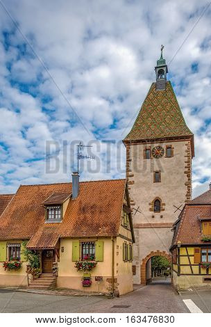 Upper Gate and clock tower in Bergheim Alsace Haut-Rhin France