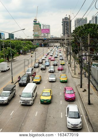 Traffic In The City Centre Of Bangkok, Thailand