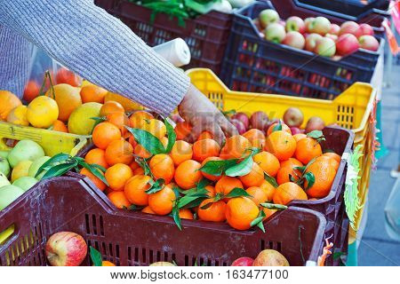 Fruit overflowing boxes on the counter of the local market tangerines oranges apples. A hand grabs the mandarins to weigh them before the sale