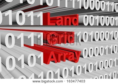 Land Grid Array in the form of binary code, 3D illustration
