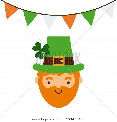 irish leprechaun face icon and decorative pennants. Saint Patricks Day concept. colorful design. vector illustration