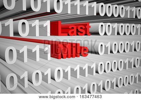 last mile in the form of binary code, 3D illustration