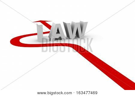 violation of law white background  3D illustration