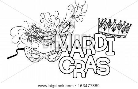 Mardi Gras or Shrove Tuesday. Carnival masks and crown. Black and white vector illustration.