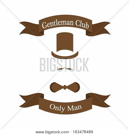 Vintage gentleman logo. Vintage gentlemen club logo, gentlemen label, design elements for your projects, cards, invitation. Gentleman classic fashion emblem vintage silhouette illustration.