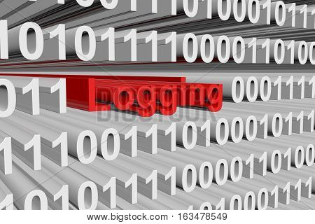 logging in the form of binary code, 3D illustration