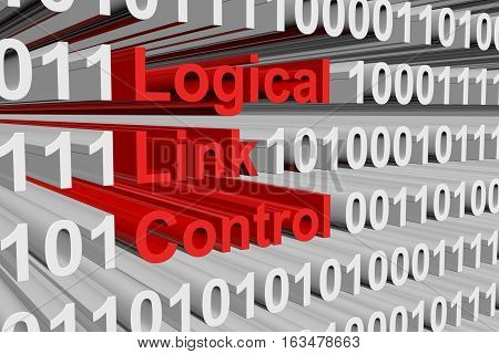 Logical link control in the form of a binary background 3D illustration