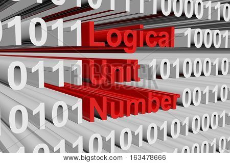 Logical Unit Number in a binary code 3D illustration