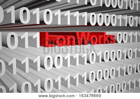 LonWorks in the form of binary code, 3D illustration