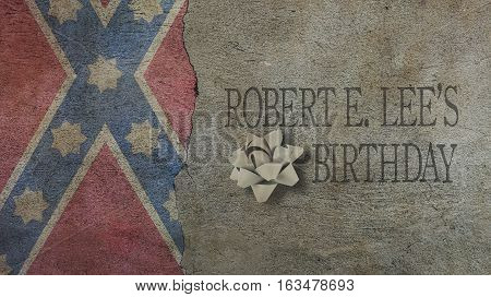 Robert E Lee birthday. Flag Concrete Wall and Ribbon