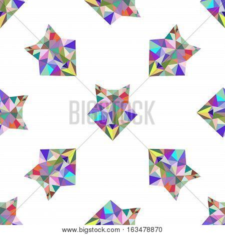 Fox polygonal seamless pattern portrait. Abstract low poly design. Vector illustration polygonal graphic geometric design. Modern creative icon wildlife triangle animal shape. Fox face origami animal.