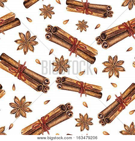 Watercolor seamless pattern with star anise and cinnamon sticks on a white background. Handdrawn watercolor illustration. Design by flyer, printing, card, menu of cafe, restaurant, fabric, textile