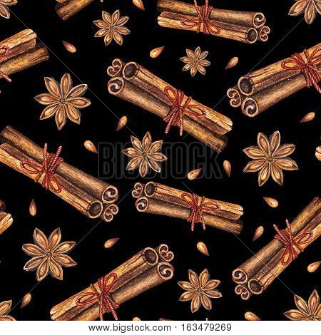 Watercolor seamless pattern with star anise and cinnamon sticks on a black background. Handdrawn watercolor illustration. Design by flyer, printing, card, menu of cafe, restaurant, fabric, textile