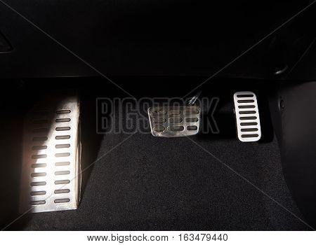 car pedals of automatic nodern car close up