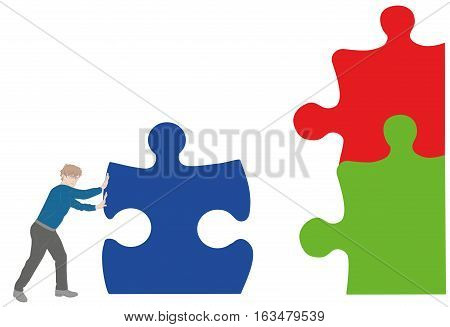 man pushing puzzle pieces to assemble a whole. vector illustration.