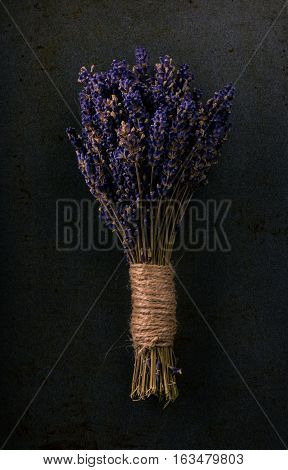Bunch Of Lavender Flower On Dark Tray