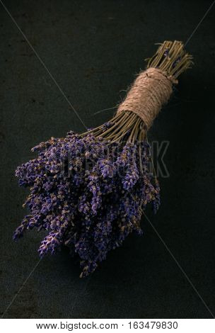 Bunch Of Purple Lavender Flower On Dark Tray