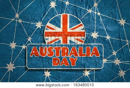 Australia flag design concept. Image relative to travel and politic themes. Australia day text. Grunge texture. Connected lines with stars.