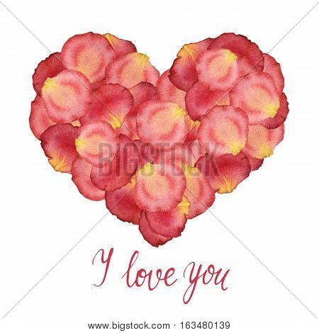 Heart from watercolor red petals of roses and a handdrawn lettering - I love you - on a white background. Hand painted watercolor illustration. Design by valentines day, flyer, poster, printing, mailing, invitation, card, wedding.