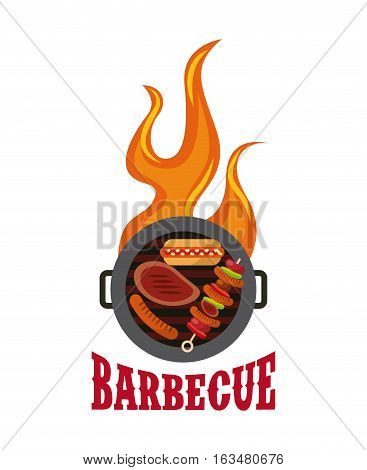 barbecue grill with grilled food icon over white background. delicious barbecue concept. colorful design. vector illustration