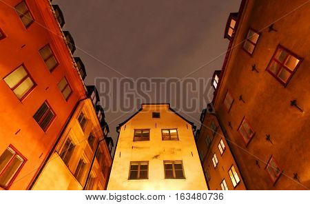 Old Town (Gamla Stan) in Stockholm. Gamla Stan is one of the largest and best preserved medieval city centers in Europe